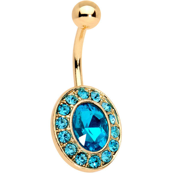 Aqua Gem Gold Tone IP Regal Bliss Belly Ring