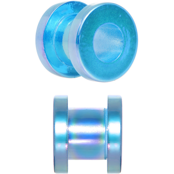 0 Gauge Iridescent Aqua Acrylic Screw Fit Tunnel Plug Set