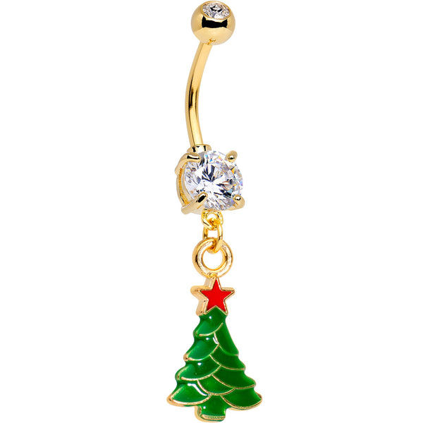Clear Gem Gold Tone Anodized Christmas Tree Star Dangle Belly Ring