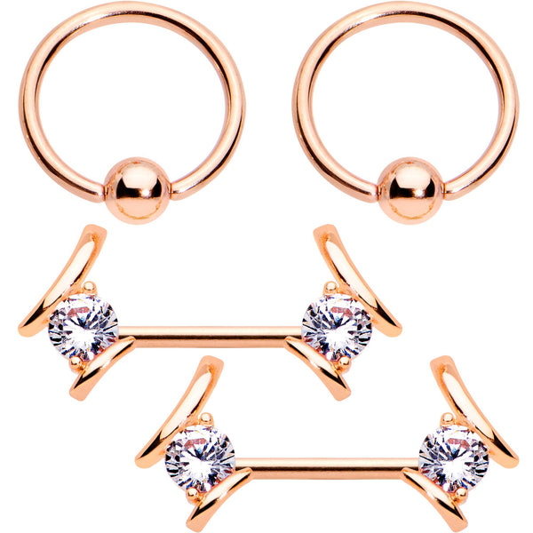 14 Gauge Clear CZ Gem Rose Gold Tone Flair BCR Barbell Nipple Ring Set
