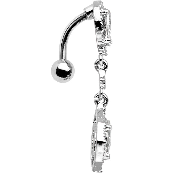 Clear Gem Twin Top Mount Dangle Belly Ring