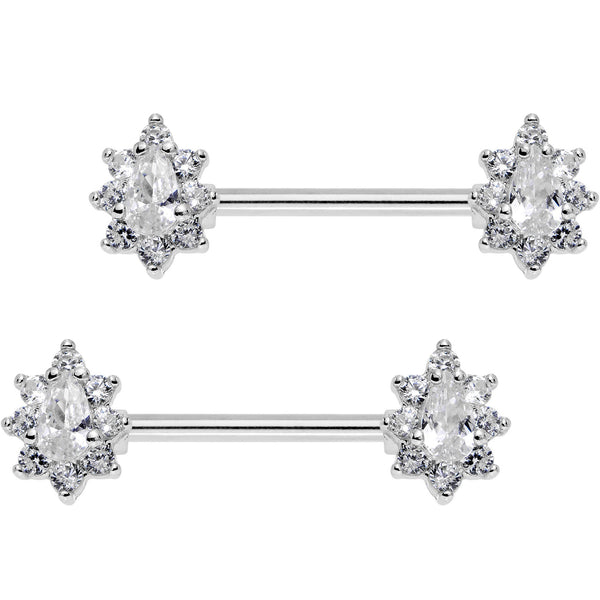 Clear CZ Gem Teardrop Star Barbell Nipple Ring Set