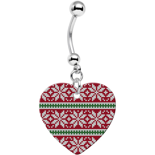 Red Green Christmas Sweater Heart Dangle Belly Ring