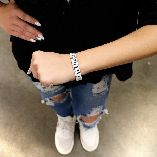 Personalized White Black Faith Silicone Religious Message Bracelet