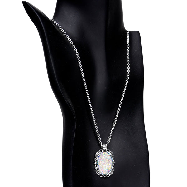 Handcrafted White Faux Opal Splash Silver Plated Chain Necklace