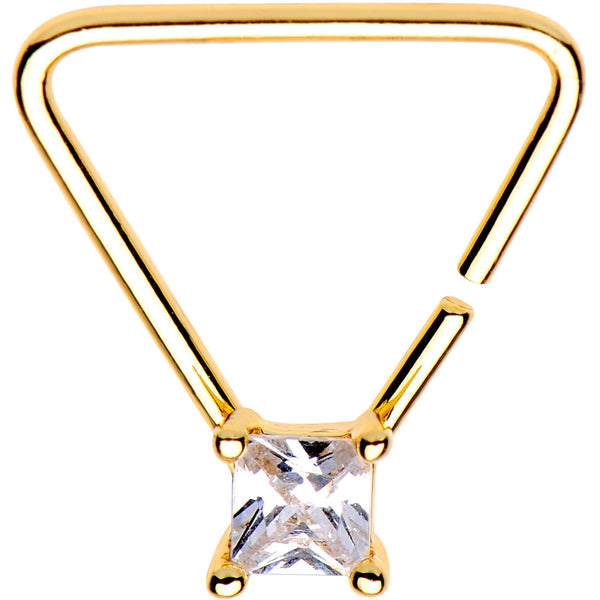 20 Gauge 3/8 Clear CZ Gem Gold Tone Plated Triangle Seamless Ring