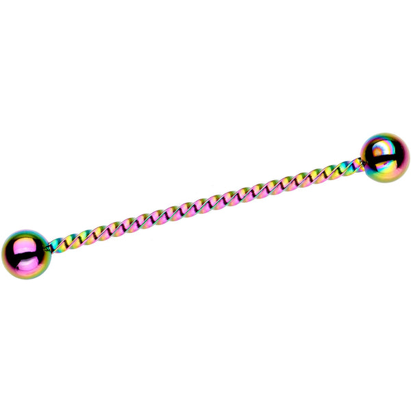 Rainbow IP Seriously Twisted Industrial Barbell Earring 38mm