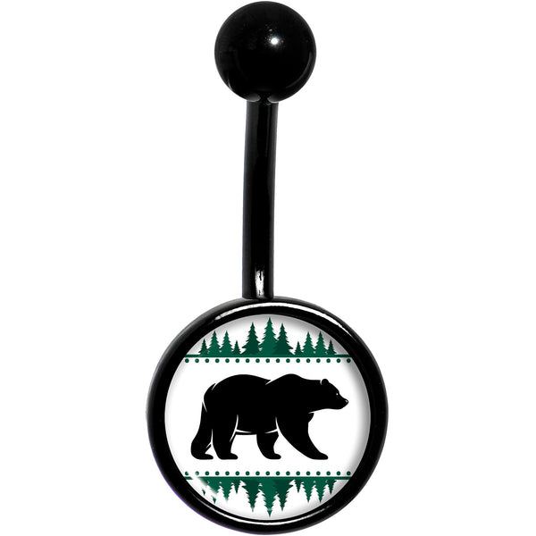 Winter Polar Bear in Woods Black Belly Ring