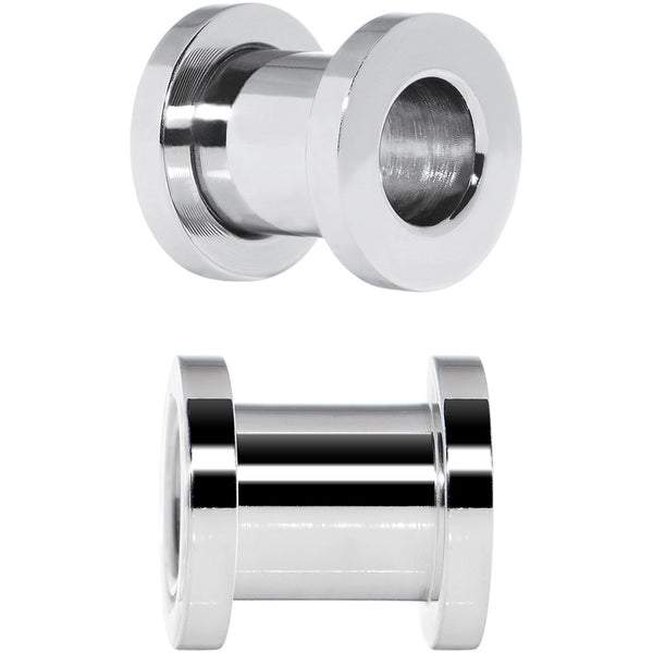 0 Gauge Stainless Steel Screw Fit Tunnel Plug Set