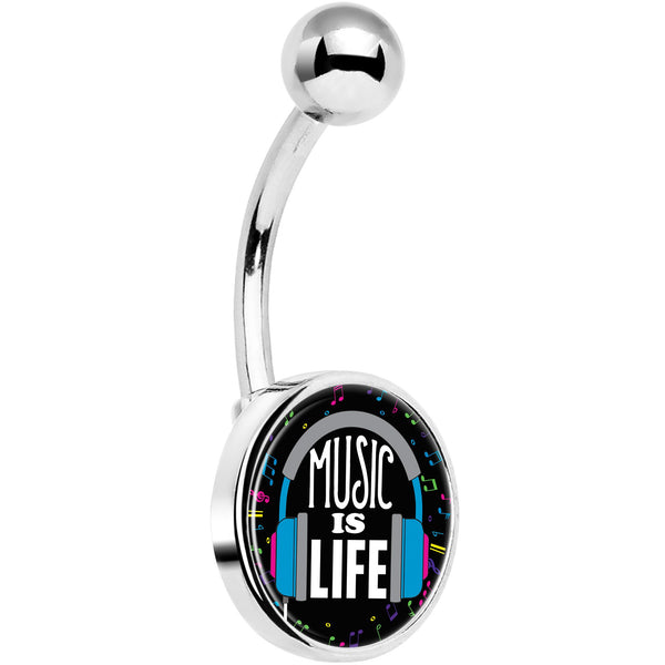 Music is Life Headphones Belly Ring