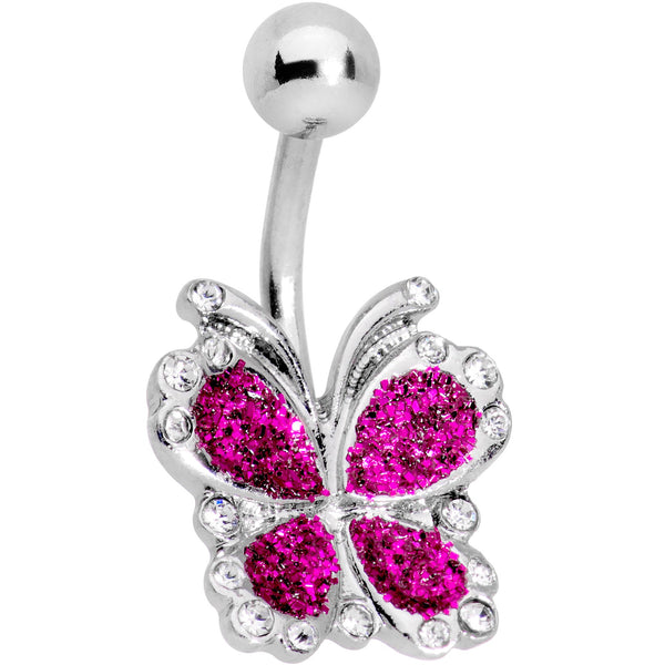 Clear Gem Pink Spring Butterfly Belly Ring