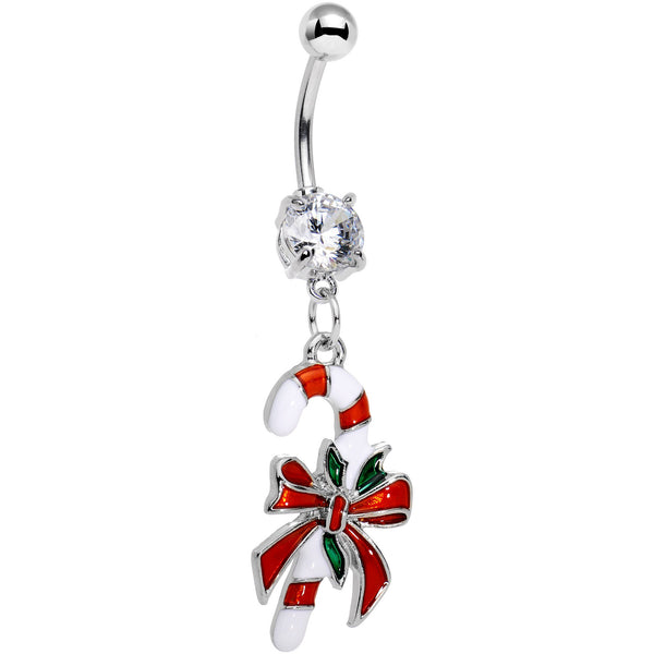 Clear Gem Peppermint Candy Cane Dangle Belly Ring