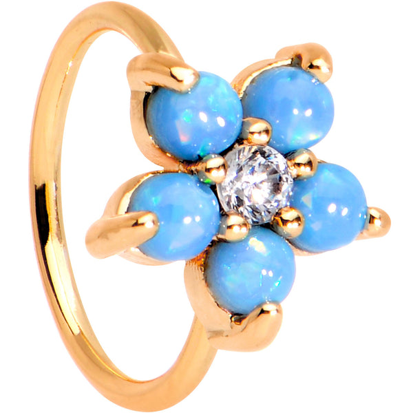 20 Gauge Clear CZ Aqua Faux Opal Rose Gold Tone Flower Circular Ring