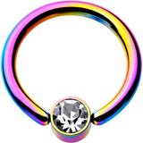 14 Gauge 3/8 Clear Gem 4mm Disc Rainbow IP BCR Captive Ring