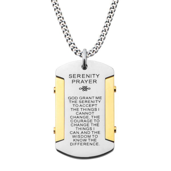 Mens Gold IP and Steel Serenity Prayer Dog Tag Pendant With Curb Chain