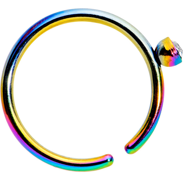 20 Gauge 5/16 Clear Gem Rainbow IP Seamless Circular Ring