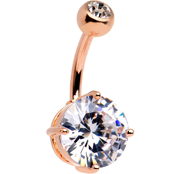Large Clear CZ Gem 14kt Rose Gold Plated Steel Belly Ring