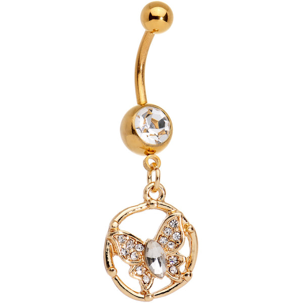 Clear Gem CZ Gold Tone Anodized Butterfly Halo Dangle Belly Ring