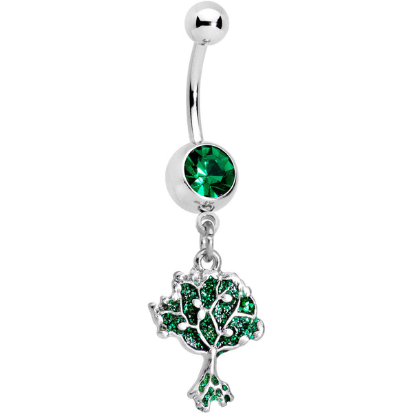 Green Gem Lively Tree of Life Dangle Belly Ring