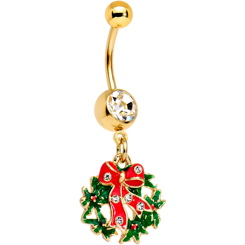 Clear Gem Red Bow Christmas Wreath Dangle Belly Ring