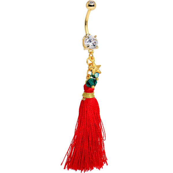 Red Holiday Tassel Dangle Belly Ring Created with Swarovski Crystals