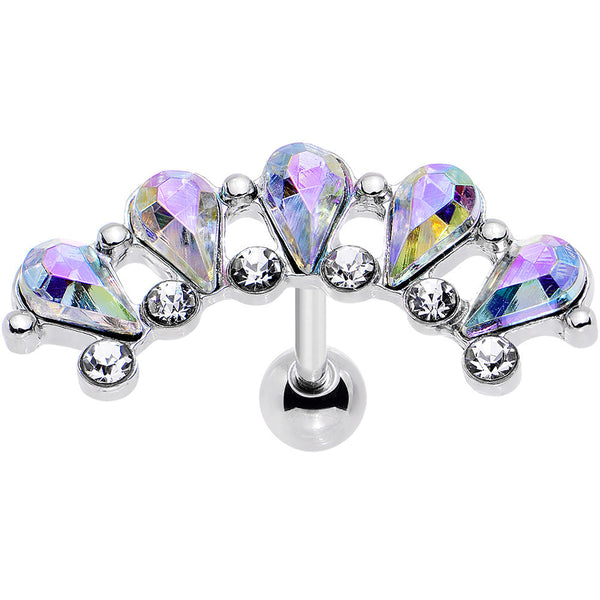16 Gauge 5/16 Aurora Clear Gem Curved Garnish Left Cartilage Earring