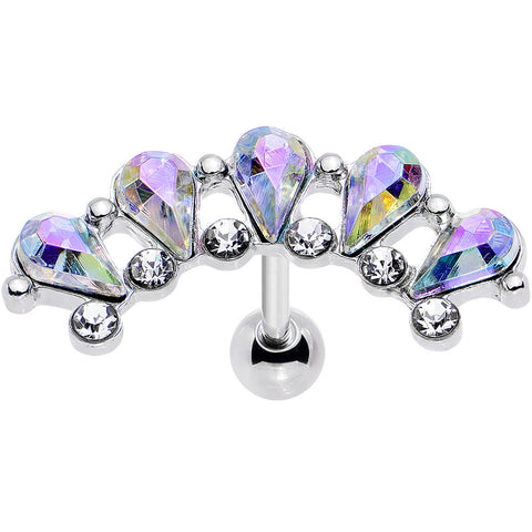 "16 Gauge 5/16"" Aurora Clear Gem Curved Garnish Left Cartilage Earring"