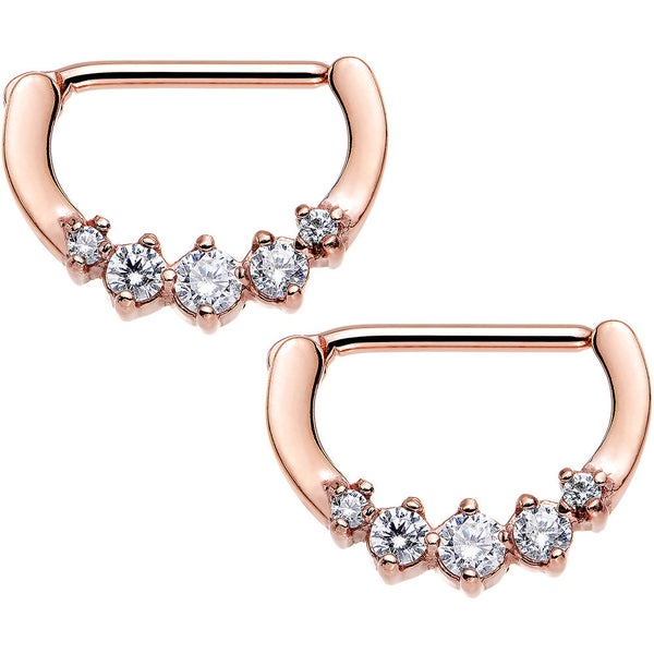 Clear Rose Gold PVD Glam Nipple Clicker Created with Swarovski Crystals