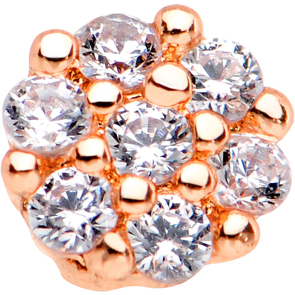 1/4 Clear CZ Gem Rose Gold Tone Cute Cluster L Shaped Nose Ring