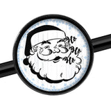 14 Gauge Christmas Retro Santa Ho Ho Ho Black Industrial Barbell 37mm