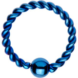 "16 Gauge 5/16"" Light Blue IP So Twisted Captive Style Seamless Ring"
