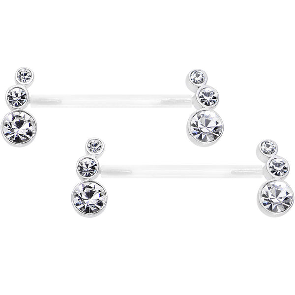 "13/16"" 925 Silver Clear Gem Bioplast Round Trio Nipple Ring Set"