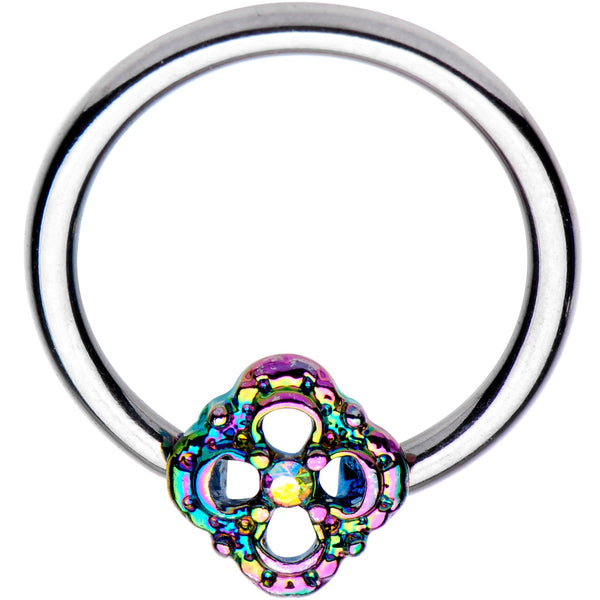 16 Gauge 3/8 Iridescent Rainbow Flower BCR Captive Ring