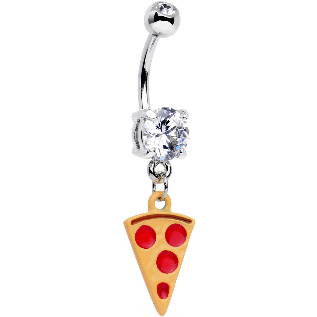 Clear CZ Gem Yummy Pizza Dangle Belly Ring