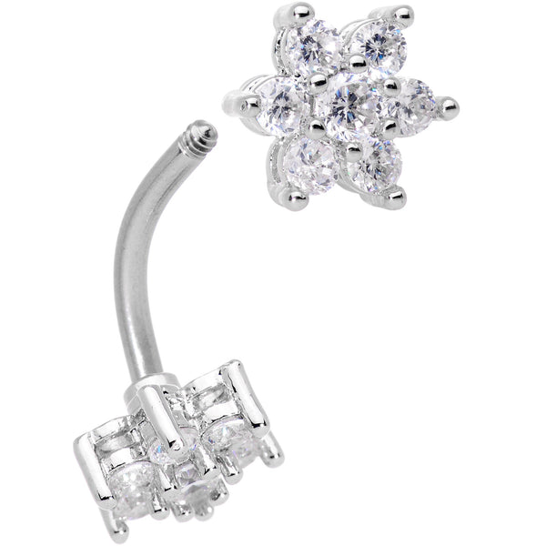 Clear Gem Double Star Reversible Double Mount Belly Ring