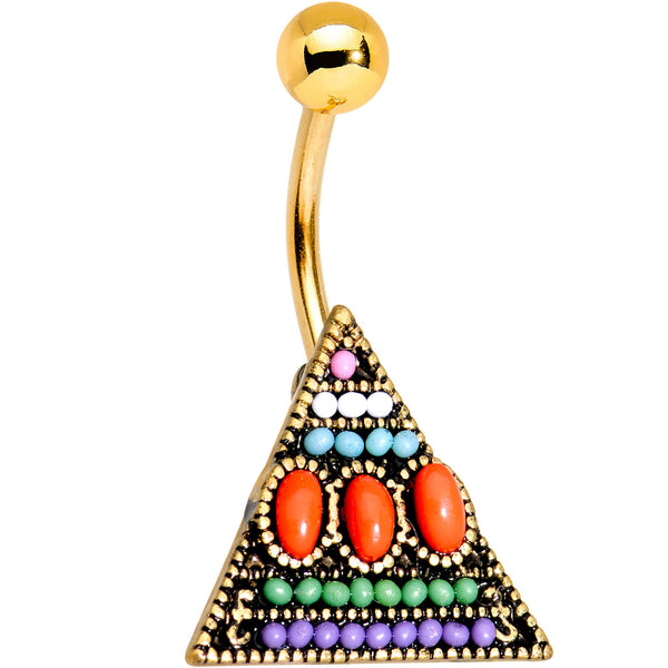 Gold Tone Anodized Southwestern Pyramid Belly Ring