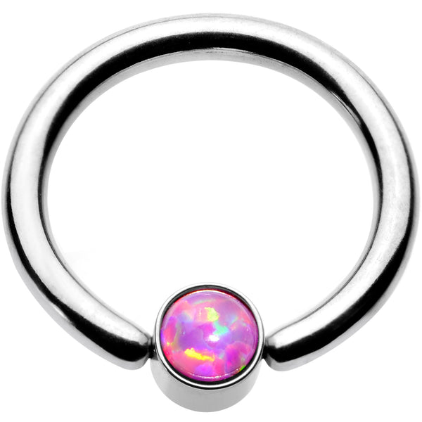 16 Gauge 5/16 Pink Faux Opal 3mm Disc BCR Captive Ring