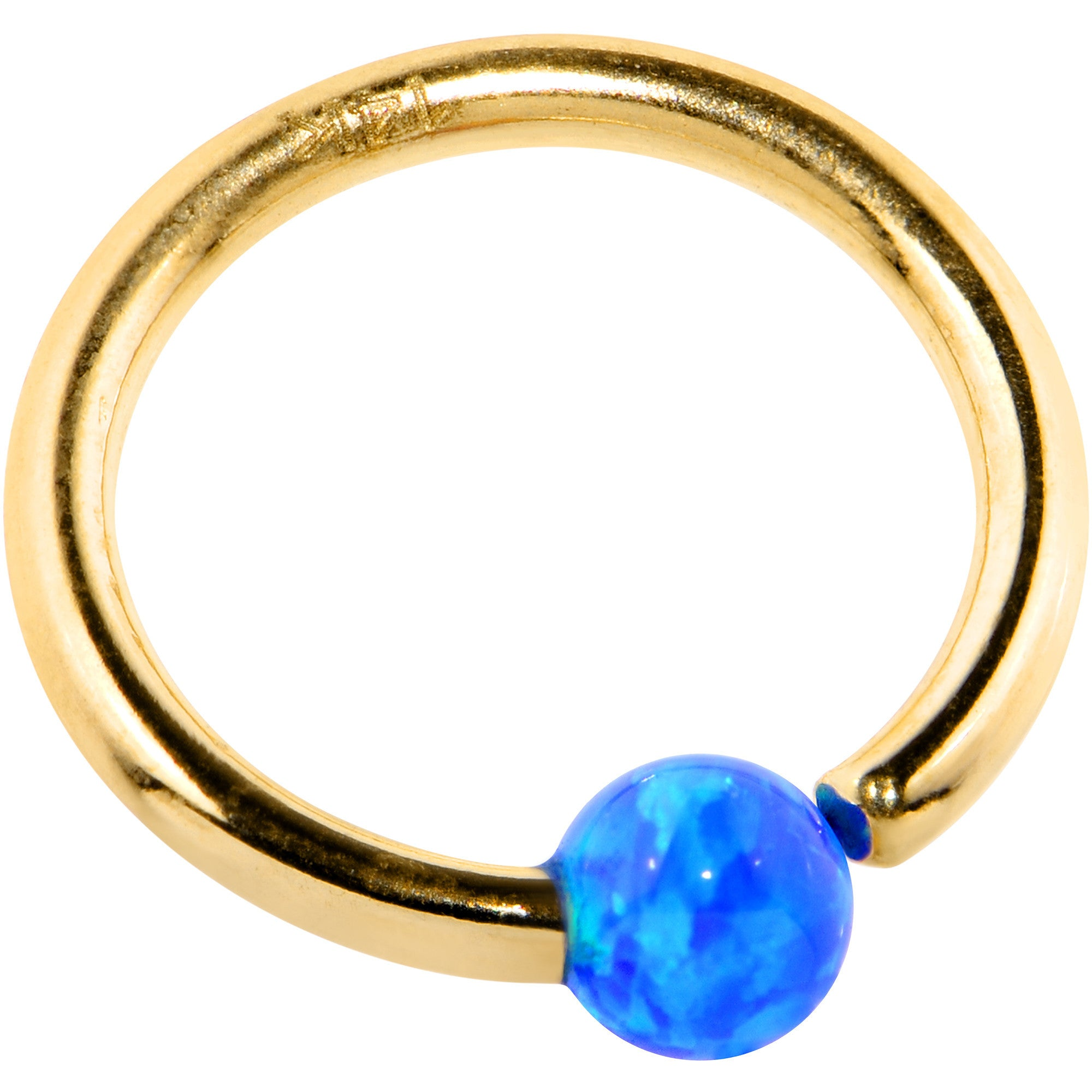 16 Gauge 14k Yellow Gold Blue 3mm Synthetic Opal Captive Ring