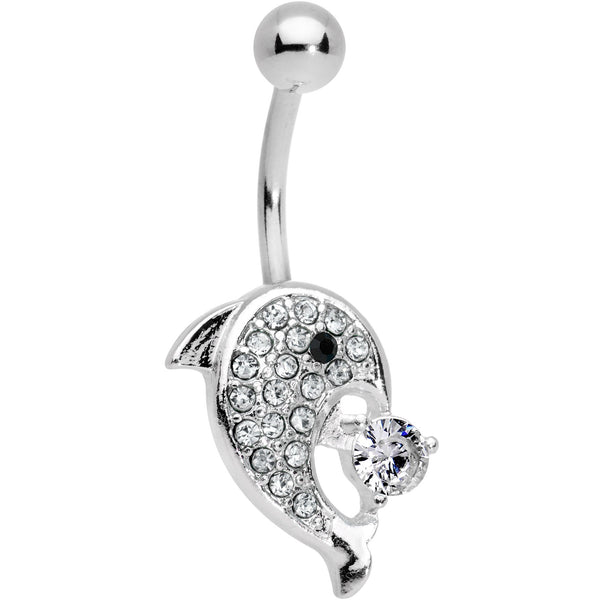 Clear Gem Delightful Dolphin Belly Ring