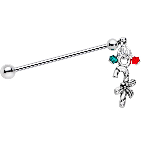 Holiday Candy Cane Industrial Barbell Created with Swarovski Crystals