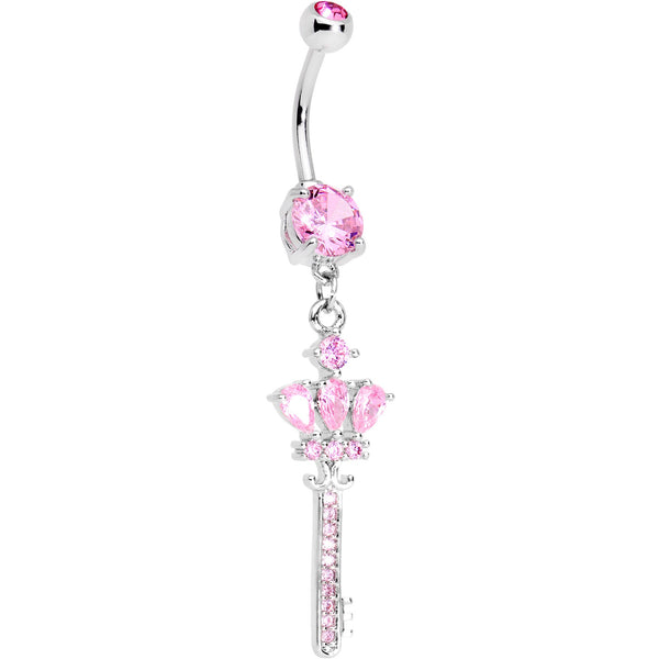Pink Gem Classy Victorian Key Dangle Belly Ring