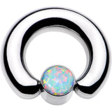 2 Gauge 9/16 White Faux Opal 8mm Disc BCR Captive Ring