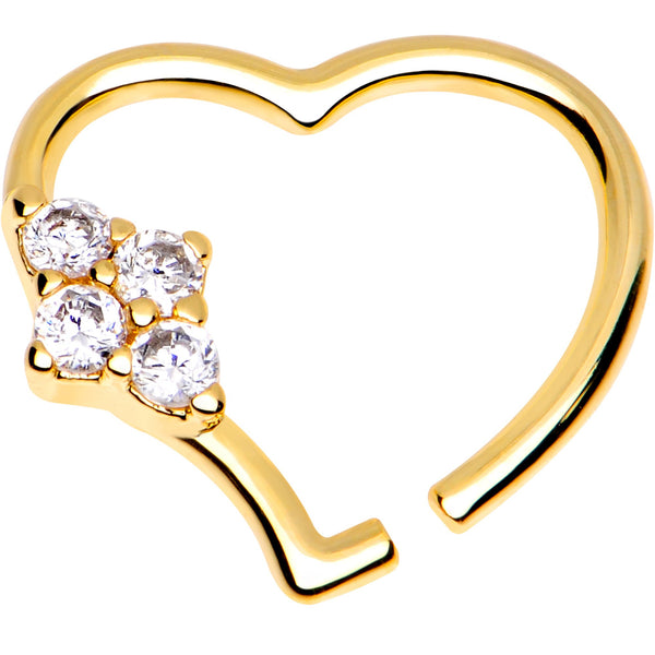 3/8 Clear CZ Gem Gold Plated Free Heart Right Daith Cartilage Tragus