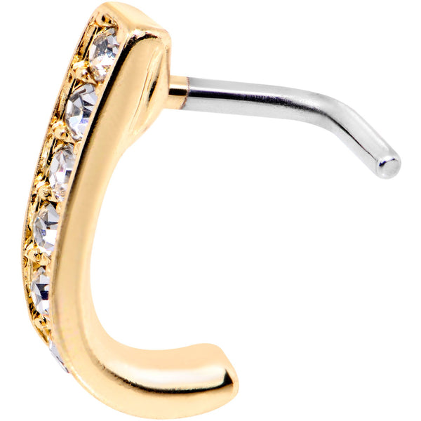 18 Gauge Clear CZ Gold Tone Sleek Faux Hoop L Shaped Nose Ring