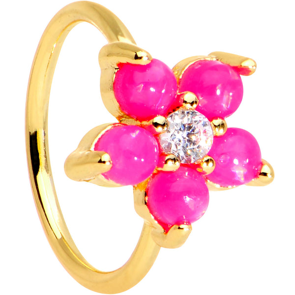 20 Gauge Clear CZ Pink Faux Opal Gold Tone Flower Circular Ring