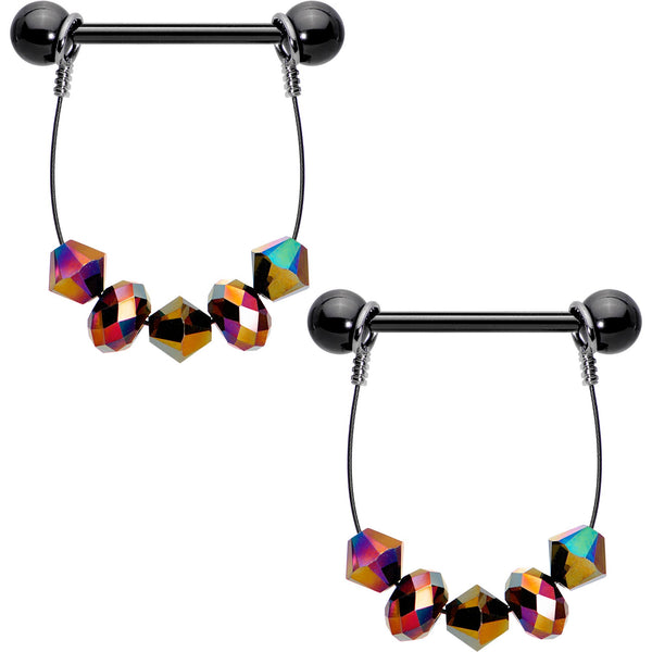 Handcrafted Black Anodized Goth Rainbow Dangle Barbell Nipple Ring Set