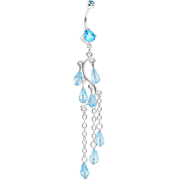 Aqua Gem Prepare To Stare Sleek Curves Dangle Belly Ring