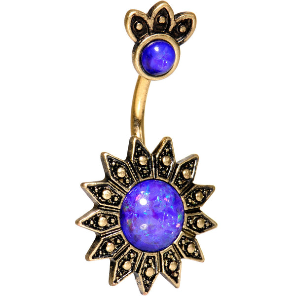 Purple Gem Sun of the Monarch Gold Tone Double Mount Belly Ring