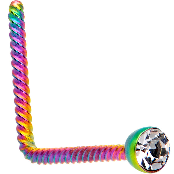 Clear 2mm Gem Inlay Rainbow IP So Twisted L Shaped Nose Ring