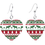 Ugly Christmas Sweater Heart Fishhook Dangle Earrings